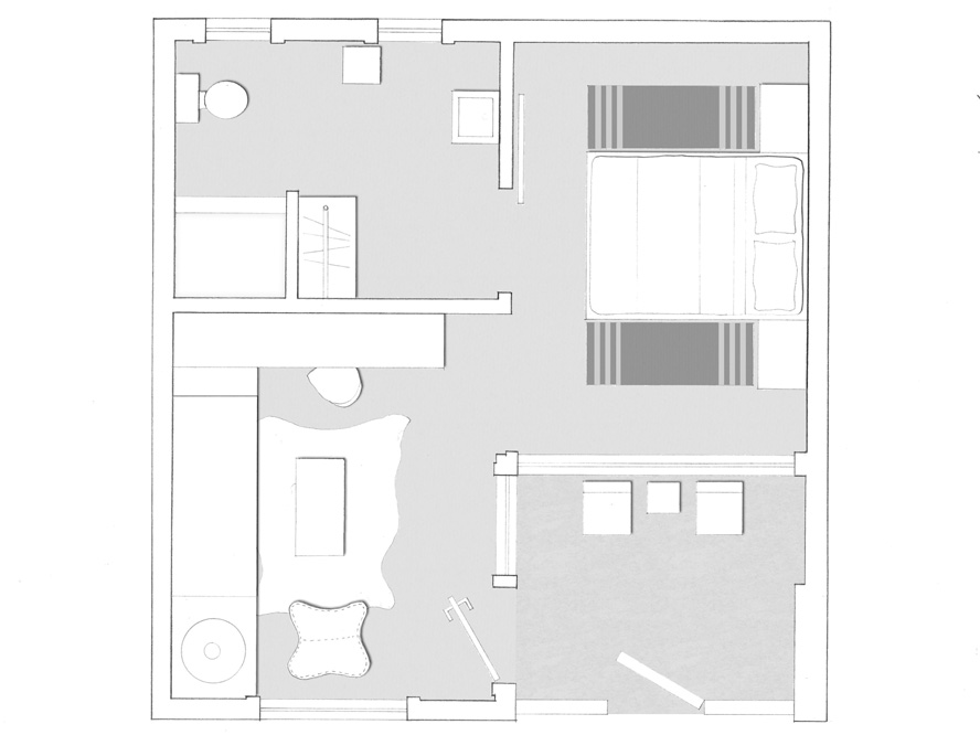 Floorplan of the Petite Suite at Hotel San Jose