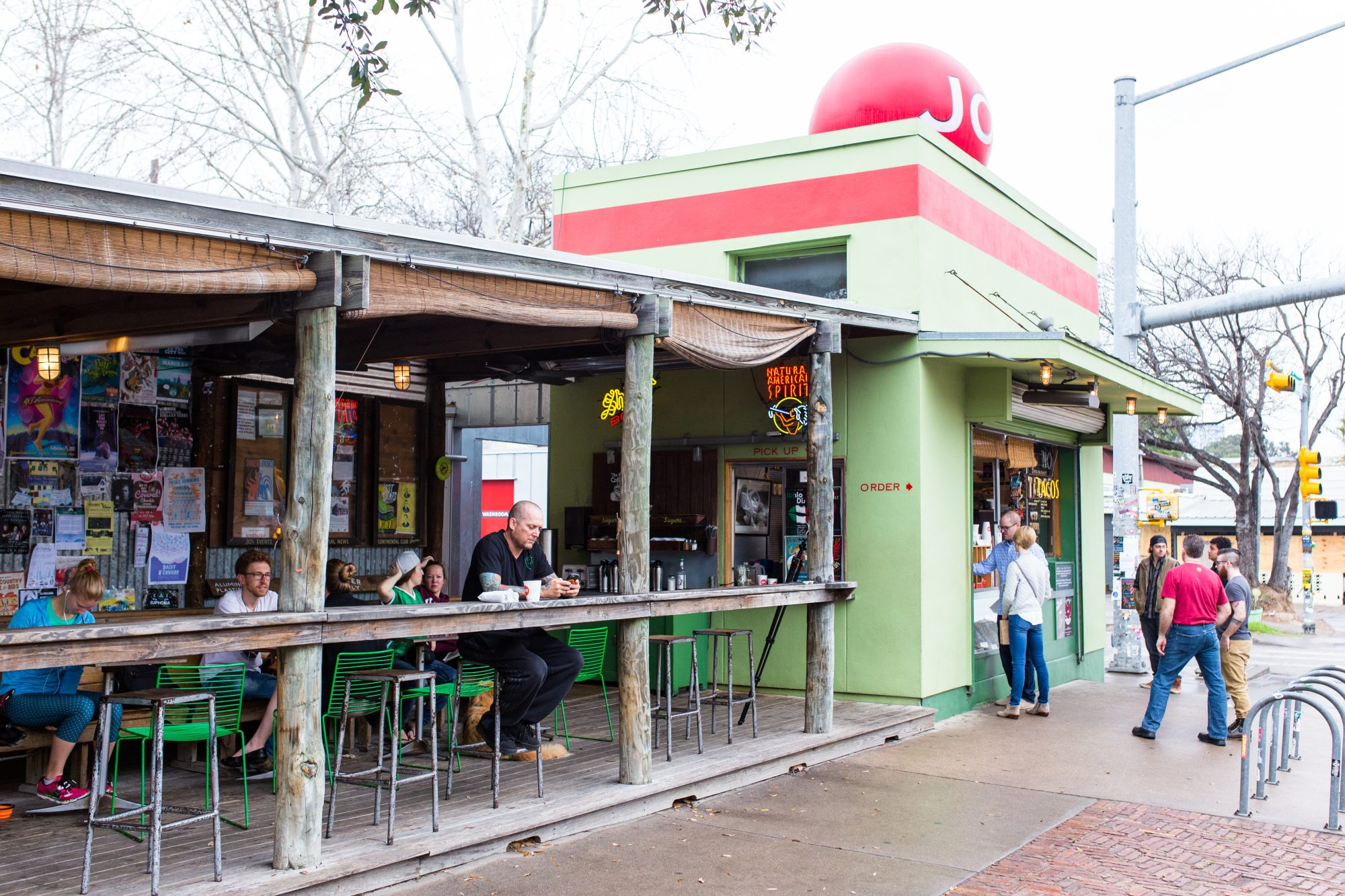 Front view of the outdoor eating area at Jo's Diner
